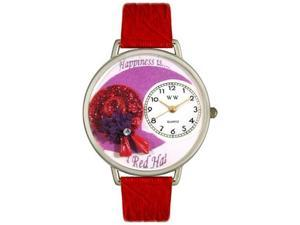 Red Hat Red Leather And Silvertone Watch #U0470007