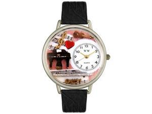 Music Teacher Black Skin Leather And Silvertone Watch #U0510001