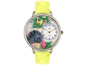 Cat Nap Yellow Leather And Silvertone Watch #U0120013