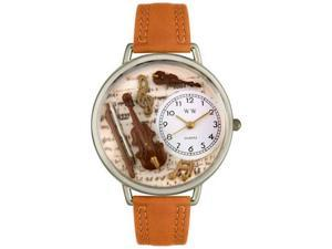 Violin Tan Leather And Silvertone Watch #U0510002