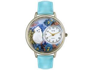 White Cat Baby Blue Leather And Silvertone Watch #U0120014