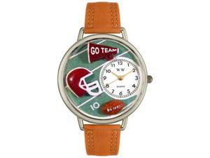 Football Tan Leather And Silvertone Watch #U0820008