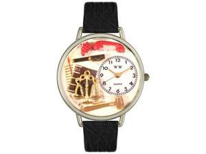 Lawyer Black Skin Leather And Silvertone Watch #U0610001