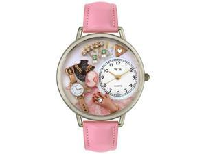 Jewelry Lover Pink Pink Leather And Silvertone Watch #U0910014