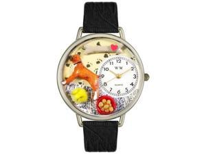 Boxer Black Skin Leather And Silvertone Watch #U0130014