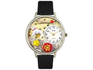 Bulldog Black Skin Leather And Silvertone Watch #U0130018