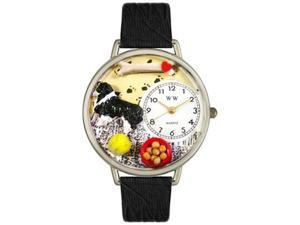 Border Collie Black Skin Leather And Silvertone Watch #U0130028