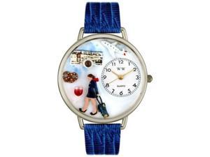 Flight Attendant Royal Blue Leather And Silvertone Watch #U0610007