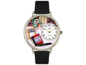 Psychiatrist Black Skin Leather And Silvertone Watch #U0610010