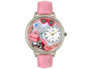 Shopper Mom Pink Leather And Silvertone Watch #U1010008
