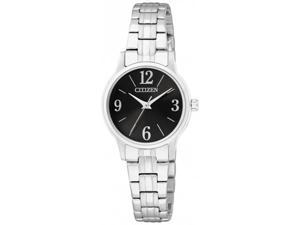 Citizen Women's Classic Quartz EX0290-59E Silver Stainless-Steel Quartz Watch with Black Dial
