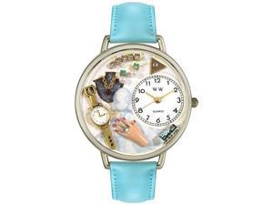 Jewelry Lover Blue Baby Blue Leather And Silvertone Watch #U1010010