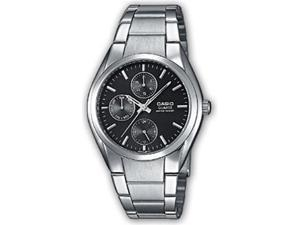 Casio Men's MTP1191A-1A Silver Stainless-Steel Quartz Watch with Black Dial