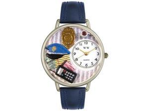 Police Officer Navy Blue Leather And Silvertone Watch #U0610016