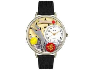 Greyhound Black Skin Leather And Silvertone Watch #U0130046