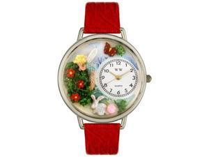 Garden Fairy Red Leather And Silvertone Watch #U1210010