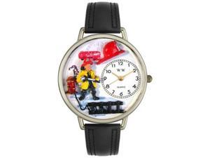 Firefighter Black Padded Leather And Silvertone Watch #U0610027