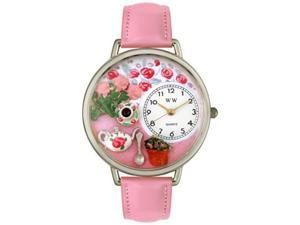 Tea Roses Pink Leather And Silvertone Watch #U1210011
