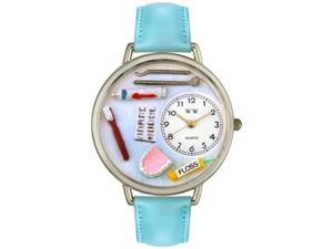 Dentist Baby Blue Leather And Silvertone Watch #U0620001