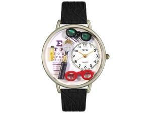 Opthamologist Black Skin Leather And Silvertone Watch #U0620003