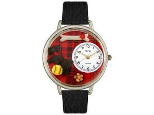 Scottie Black Skin Leather And Silvertone Watch #U0130067