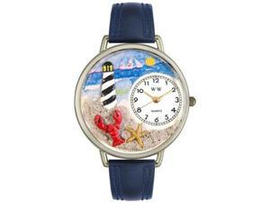 Lighthouse Navy Blue Leather And Silvertone Watch #U1210013