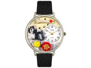 Shih-Tzu Black Skin Leather And Silvertone Watch #U0130069