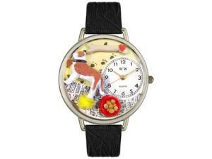Saint Bernard Black Skin Leather And Silvertone Watch #U0130070