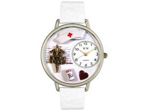 RN White Leather And Silvertone Watch #U0620008