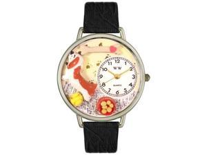 Basset Hound Black Skin Leather And Silvertone Watch #U0130078