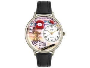 Pharmacist Black Padded Leather And Silvertone Watch #U0620014
