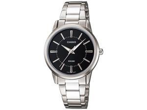 Casio Women's LTP1303D-1AV Silver Stainless-Steel Quartz Watch with Black Dial