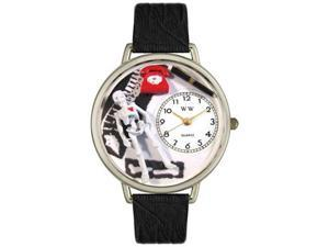 Orthopedics Black Skin Leather And Silvertone Watch #U0620020