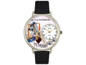 Physical Therapist Black Skin Leather And Silvertone Watch #U0620022