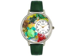 Turtles Hunter Green Leather And Silvertone Watch #U0140003