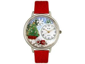 Christmas Tree Red Leather And Silvertone Watch #U1220002