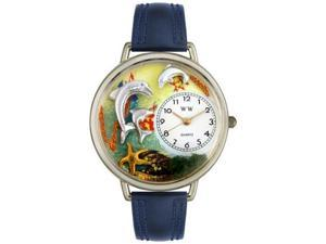 Dolphin Navy Blue Leather And Silvertone Watch #U0140004