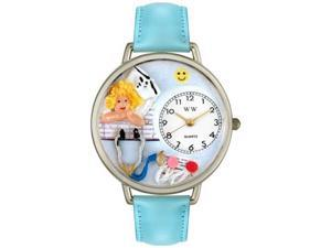 Nurse Angel Baby Blue Leather And Silvertone Watch #U0620030