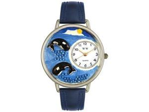 Whales Navy Blue Leather And Silvertone Watch #U0140005