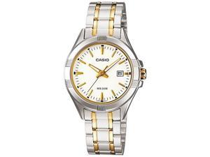 Casio Women's LTP1308SG-7AV Silver Stainless-Steel Quartz Watch with White Dial