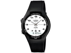 Casio Men's AW90H-7BV Black Rubber Quartz Watch with White Dial