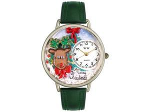 Christmas Reindeer Hunter Green Leather And Silvertone Watch #U1220012