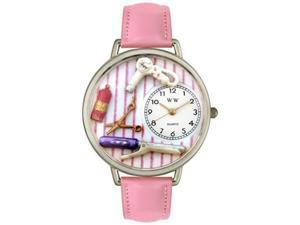 Beautician Female Pink Leather And Silvertone Watch #U0630001