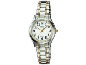 Casio Women's LTP1275SG-7B Silver Stainless-Steel Quartz Watch with White Dial