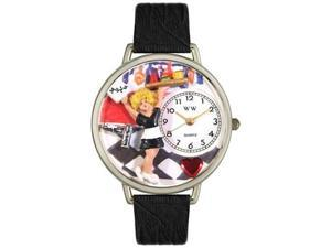 Waitress Black Skin Leather And Silvertone Watch #U0630004
