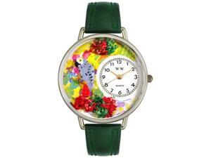 African Gray Parrot Hunter Green Leather And Silvertone Watch #U0150013