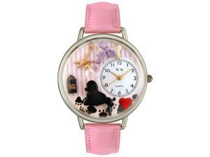 Dog Groomer Pink Leather And Silvertone Watch #U0630007