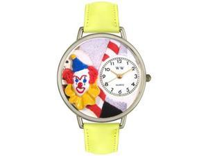 Clown Face Yellow Leather And Silvertone Watch #U0210002