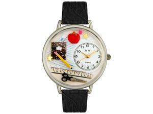 Teacher Black Skin Leather And Silvertone Watch #U0640001