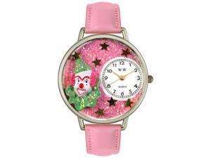 Pink Glitter Clown Pink Leather And Silvertone Watch #U0210009
